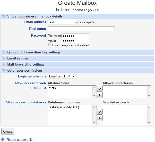Create FTP user