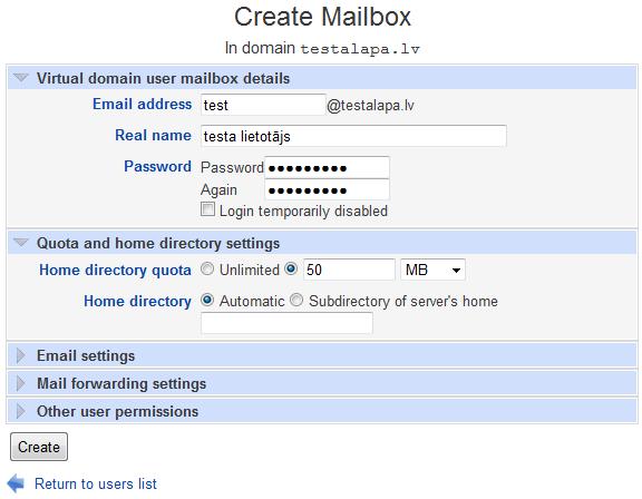 Create mailbox