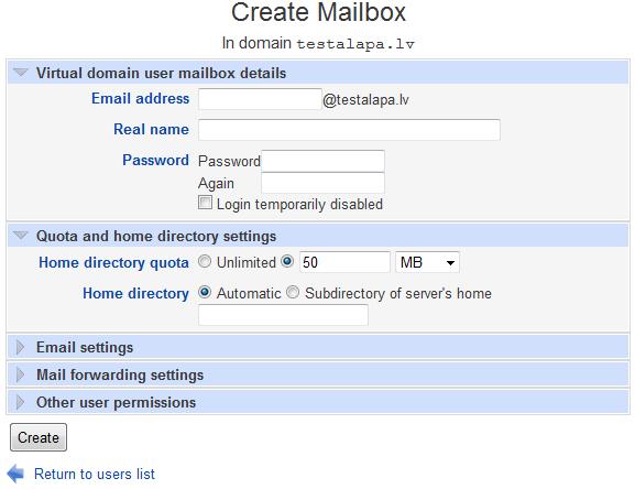 Create mailbox quota