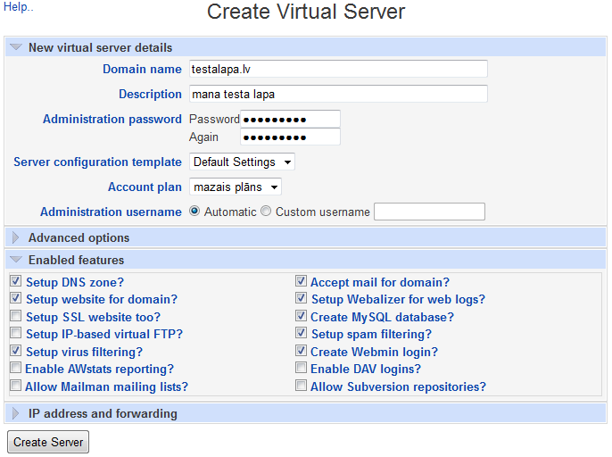 Create virtual server