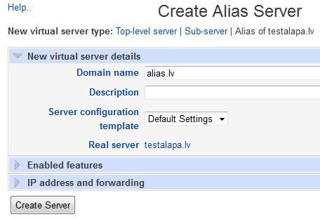 Create website alias