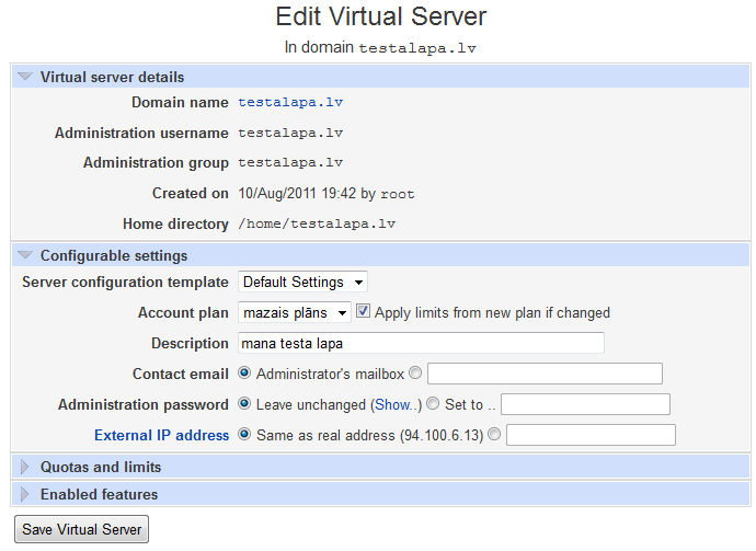 Edit virtual server