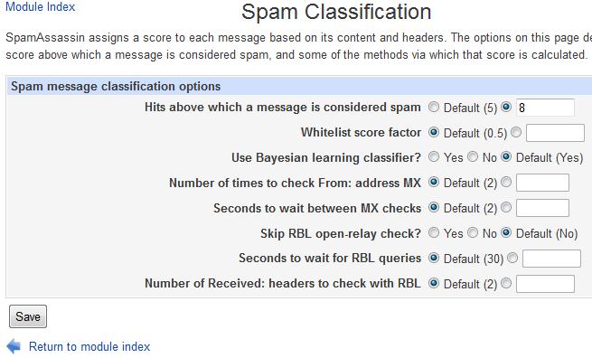 Usermin spamfilter