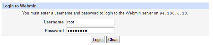 Virtualmin login